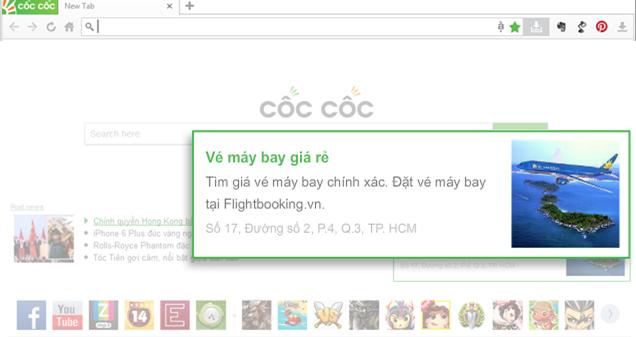 Quảng cáo trang chủ trình duyệt Coccoc