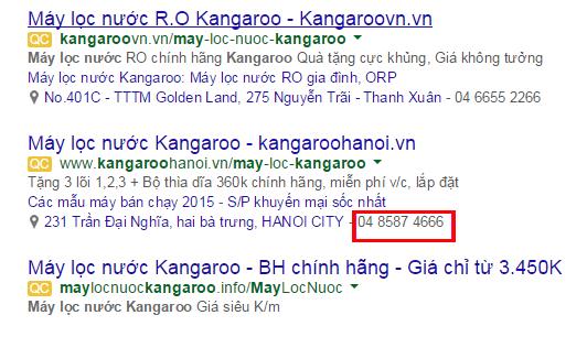 Tích hợp số điện thoại trên mẫu Quảng cáo google adwords