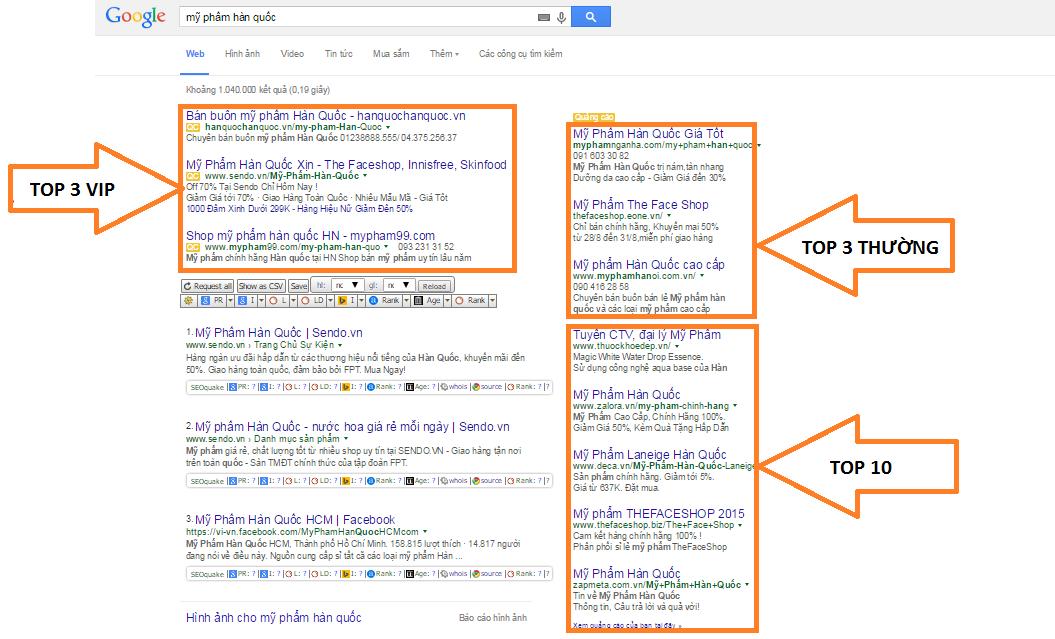 Vị trí hiển thị Google Adwords trên pc